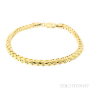 Solid Menand039s Bracelet 14k Yellow Gold Finish Shiny Round Franco Chain