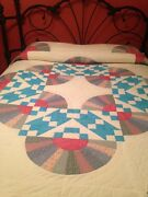 Vintage Hand Made Quilt Jacobs Ladder And Grandmothers Fan Pattern King Size
