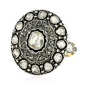 Rose Cut Diamond 925 Sterling Silver Ring Vintage Look 14k Gold Jewelry 1.76ct
