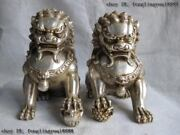 Chinese White Copper Silver Royal Palace Feng Shui Evil Door Foo Dog Lion Pair