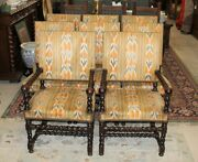 Set Of 8 French Antique Carved Louis Xiii Barley Twist Living Room Chairs