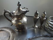 Antique/vintage Silver Plate Lot/ Creamer/dish/plate /sand P Shaker//free Ship