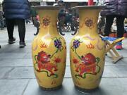 Chinese Bronze Cloisonne Enamel Foo Dog Lion Beast Play With Ball Vase Pair