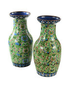 Pair Of Antique 18 Chinese Green Vases - Cloisonné