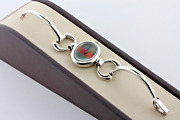 Red And Green Sterling Silver Bridle Bit Link Vintage Wind Up Ladies Watch