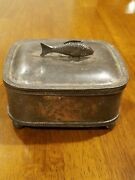 Simpson Hall Miller And Co. -arts And Crafts Silver Plate Jewelry Box,fish Finial