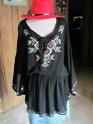 Origami By Vivian Brand New Ladies Butterfly Tunic Shirt Tribal Embroidery Fr