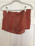 Women's Thml Dressy Tan And Rust Color Shorts - Womens Sz S-euc