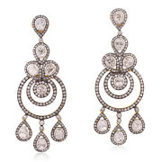 9.13ct Natural Diamond 18kt Gold 925 Sterling Silver Chandelier Earrings Jewelry