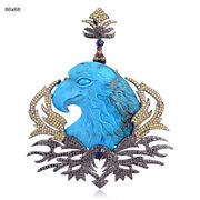 Eagle Style 132.61ct Sapphire Turquoise Diamond Pendant Gold 925 Sterling Silver
