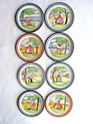 8 Norway Pottery Plates Hand Painted Boy And Girl Country Scenes Scandinavian