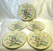 Franciscan Fine China Mariposa 5 Salad Or Side Plates Gold Trim Colorful Flowers