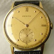 36 Mm Gold Menand039s Wwii Era Zenith Collection Wristwatch Good Condition 1945