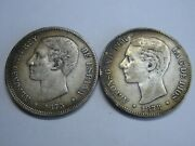 Spain 5 Pesetas Lot 2 Coins Silver 1875 1878 Alfonso Xii Spanish