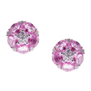 Clearance 3062 Rare 18kt Gold 4ct Pink Sapphire Diamond Floral Flower Earrings