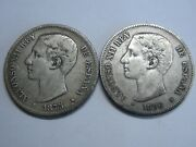 Spain 5 Pesetas Lot 2 Coins Silver 1875 1876 Alfonso Xii Spanish