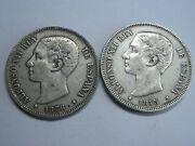 Spain 5 Pesetas Lot 2 Coins Silver 1876 1875 Alfonso Xii Spanish