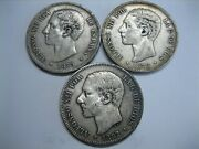 Spain 5 Pesetas Lot 3 Coins Silver 1875 1878 1882 Alfonso Xii Spanish