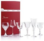 Baccarat Wine Therapy Set Of 6 Assorted Clear Crystal Wine Glasses New 890