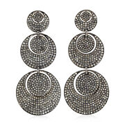 Vintage Style Pave Diamond Sterling Silver Disc Dangle Earrings 18k Gold