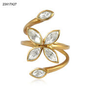 18kt Yellow Gold 1.4ct Rose Cut Diamond Floral Ring Indian Ethnic Look Jewelry