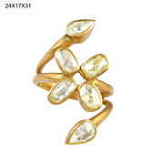 18k Gold Sterling Silver 1.76ct Rose Cut Diamond Ring Indian Ethnic Look Jewelry