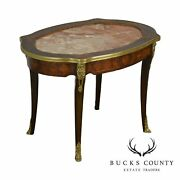 French Louis Xv Style Antique Marquetry Inlaid Marble Top Coffee Table