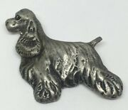 Vintage English Cocker Spaniel Dog Pin Brooch Hand Made Pewter Great Detail