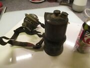 Vintage Justrite Coal Miners Head Lamp With Strap And Belt Canister