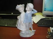 Lladro Girl And Boy Holding Hand Puppy Love 10 Tall