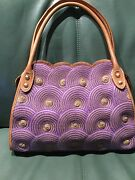 Limited Edition Eric Javits Womenand039s Purple And Beige Scalloped Tote