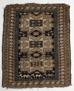 Antique Caucasian Small Throw Rug Wool Pile Geometric And Pictorials In Browns