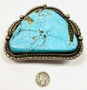 Giant Artist Signed Native American Turquoise Sterling Silver Belt Buckle