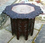 Antique Indian/burmese Octagonal Folding Side Table With Inset Copper Tray