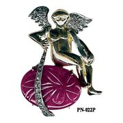 22.14ct Ruby Pave Diamond 14kt Gold Angel Pendant 925 Sterling Silver Jewelry