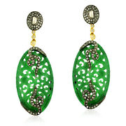 33.6ct Gemstone Diamond Gold 925 Sterling Silver Dangle Earrings Carving Jewelry