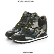 Women Wedge Camouflage Lace Up Sneakers High Top High Heel Slip On Running Shoes