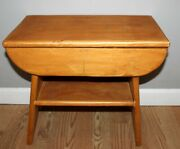 Vintage Wood Heavy Sturdy Solid Footstool Small End Table 11 X H 15 X L 17.5