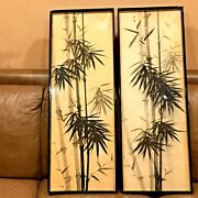 Antique Very Old 16-17th C Chinese Painted Bamboo Ink On Silk 2 Paintings