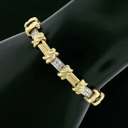 14k Tt Gold 1.00ctw Round Pave Diamond Grooved Bar And Knot Link Tennis Bracelet