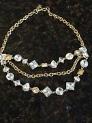 Coach Crystal Cluster Necklace, Style 96350, Gold/clear Msrp 248