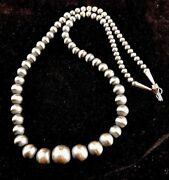 Native American Navajo Pearls Graduated Sterling Silver Bead Necklace 28 S342