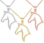 Solid Gold Horse Head Stallion Outlined Openwork Pendant Necklace