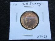 1911 Gold Sovereign Coin British Selling As Ungraded   Day-02766