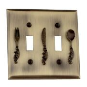 Kitchen Switchplates Antique Solid Brass Utensil 2 Toggle | Renovator's Supply