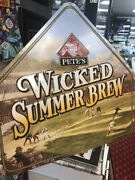 28x29 Pete's Wicked Brew Baseball Beer Sign Autographed By Willie Mays Jsa Cert