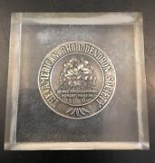 The American Rhododendron Society Medal Coin Plexiglass Paperweight Silver