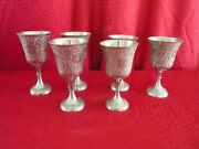 Vintage Zy India World Gift Silver Plate Wine Goblet 6
