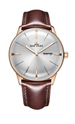 Reef Tiger Luxury Dress Watch With Date Day Rose Gold Convex Lens Automatic F/s