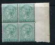South Australia 1890 1d Green Perforated Marginal Block Plate Proof Vf Muh